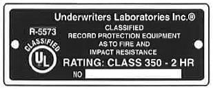 UL Label Class 350-2 hours
